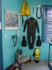 A complete set of US Divers scuba equipment from the 1960's on display in the St. Paul Island, Shipwrecks and Treasure Museum