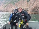 Terry and Suzie Dwyer bottle diving in Chester Harbour.