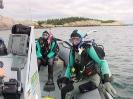 Tanya Burnett and Jane Everett prepare to dive the TRIBUNE off Herring Cove, Halifax Harbour