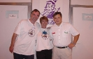 Members of the 1996 expedition to St. Pauls Island, Jack Bird, Lizzie Bird and Terry Dwyer at the BSAC Show in London, England.