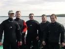 Blair Christian, Doug Carmichael, Terry Dwyer, Sam Millett and Derek King after a dive on the shipwreck