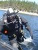 The Wreck Hunter demonstrates the proper technique to re-board a zodiac during the annual Canada Day Scallop Dive in Liscomb, Nova Scotia.