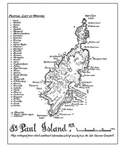 Early map of St, Paul Island showing the location of 40 shipwrecks