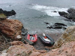 One of only two places where you can safely land a zodiac in Atlantic Cove at low tide