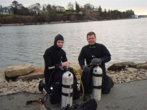 Caleb Habermehl and Terry Dwyer prior to a bottle dive in Chester Harbour
