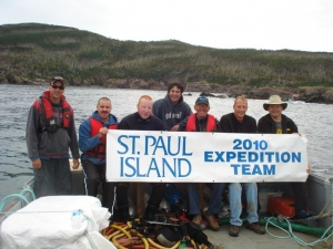 Members of the 2010 St. Paul Island Expedition Team - from left to right: Troy Fitzgerald, Scott Fitzgerald, Brandon Hart, Ron Newcombe, Ed Barrington, Derek Barrington and Terry Dwyer